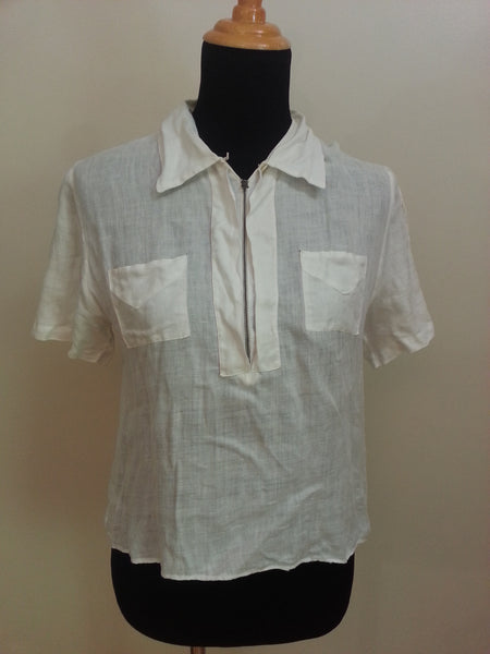 Vintage 1940s Women's White Linen Shirt Blouse
