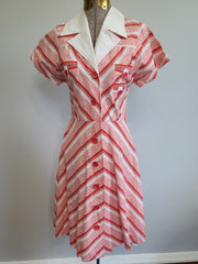 "Vintage ""1960s does 1940s"" German Red and White Striped Dress"
