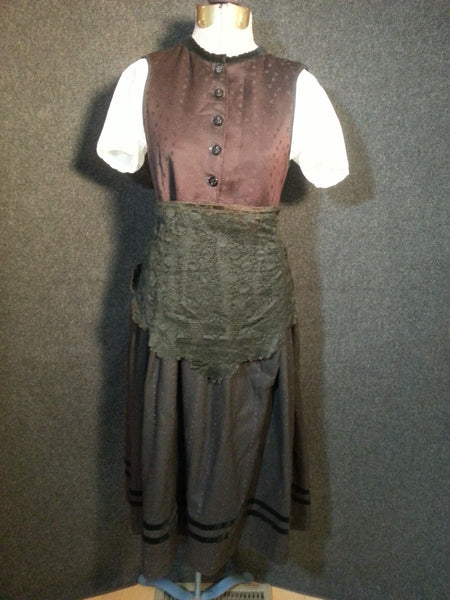 Vintage Edwardan Victorian Pre-WWII German Dirndl w/ Painted Skirt