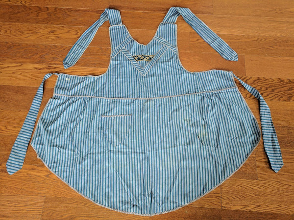 Vintage German 1930s / 1940s Blue Stripe Apron