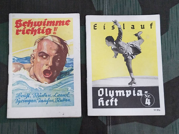 Vintage German 1936 Olympic Sport Books (Swimming and Ice Skating)