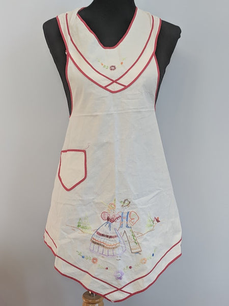 Vintage German Apron with Traditional Embroidery