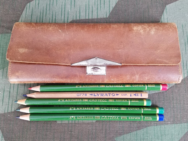 Vintage German Brown Leather Pencil Case with 5 Colored Pencils