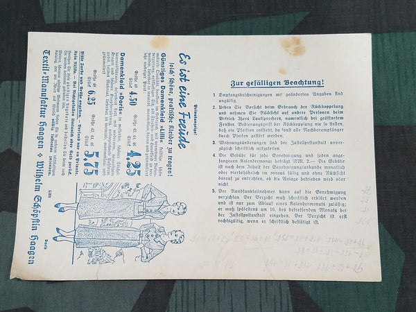 Vintage German Dress Mail Order Form / Radio Collection Tax Card 1937
