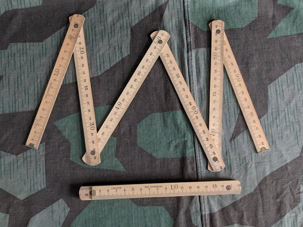 Vintage German Folding Wood Ruler - 1 Meter