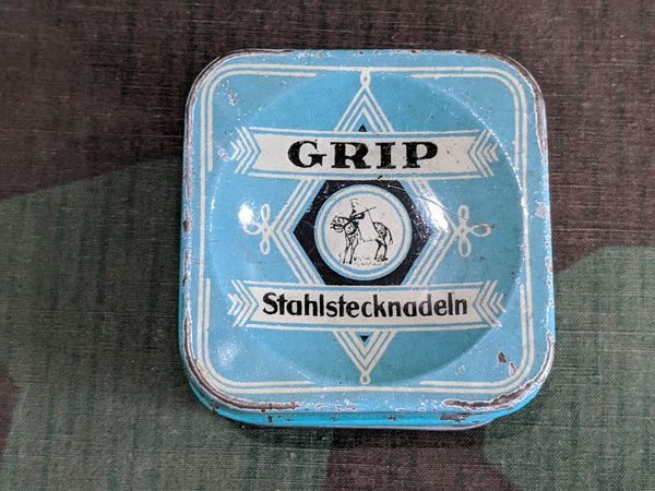 Vintage German Grip Stahlstecknadeln Sewing Pin Needle Tin