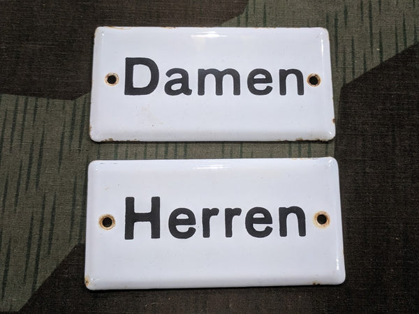 Vintage German Herren and Damen Enamel Signs