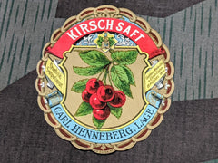 Vintage German Kirschsaft Cherry Drink Label NOS