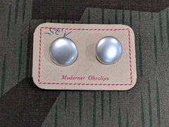 Vintage German Mother of Pearl Clip-On Earrings on Card
