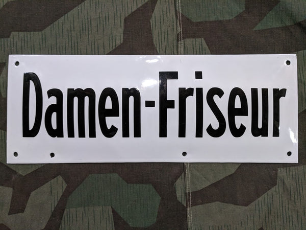 Vintage Pre-WWII German Damen-Friseur (Women's Hairdresser) Enamel Sign