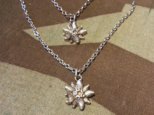 Vintage Silver Edelweiss Necklace and Bracelet Set from Germany