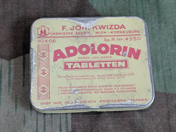 Vintage WWII-era German Adolorin Acetaminophen Caffeine Pill Tin