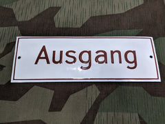 Vintage WWII-era German Ausgang (Exit) Enamel Sign