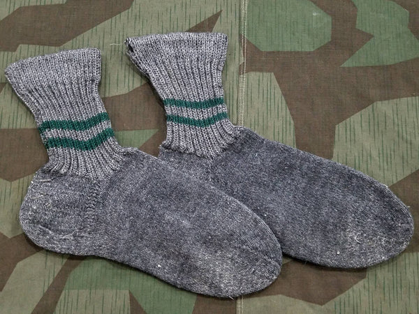 Vintage WWII-era German Gray Socks with Green Stripes