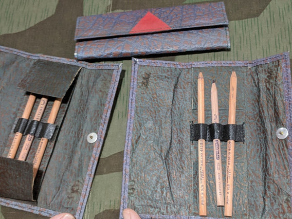 Vintage WWII-era German Pressed Paper Pencil Holder w/ 3 Pencils