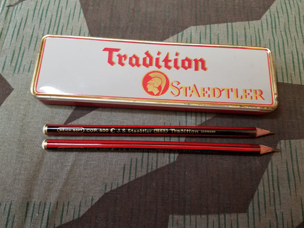 Vintage WWII-era German Staedtler Pencil Box with 5 Pencils