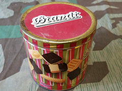 Vintage WWII-era German Striped Brandt Cookie Tin