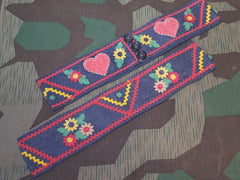 Vintage WWII-era German Trachten Traditional Felt Belt for Dirndl