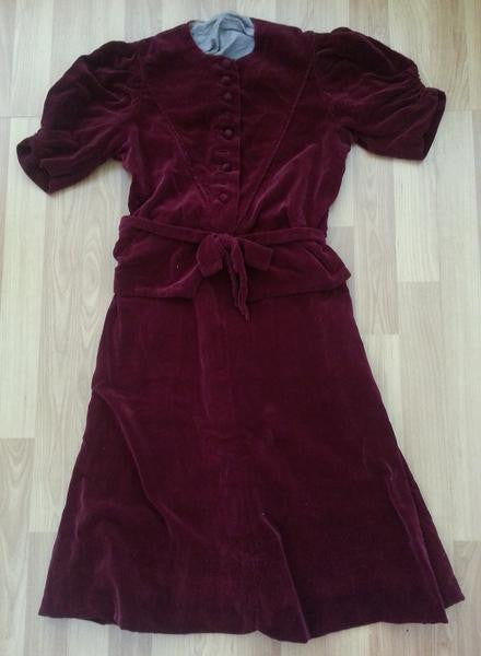 Vintage 1940s German Red Velvet Peplum Dress