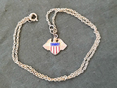 Vintage WWII 1940s Patriotic USA Eagle Necklace Sweetheart Homefront