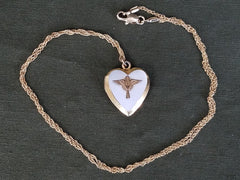 Vintage WWII Army Air Corps Heart Locket Sweetheart Necklace