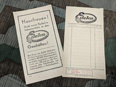 Vintage WWII German 1940s Edeka Grocery Store Receipts RM Price