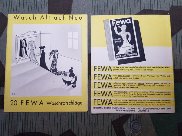 Vintage WWII German Fewa Clothing Soap Instruction Book SS SA