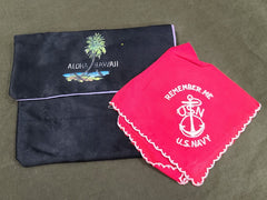 Vintage WWII US Navy Hankie & Hawaii Holder