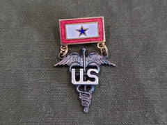 Vintage WWII US Sweetheart In Service Medical Caduceus Pin Brooch