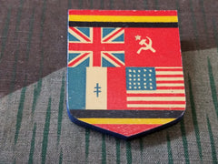 Vintage WWII Victory Flags Shield Wooden Pin