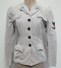 Vintage WWII WAVES Women's Navy Seersucker Uniform Jacket