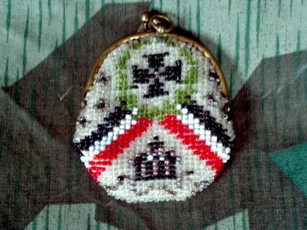 Vintage WWI German Beaded Coin Purse Sweetheart