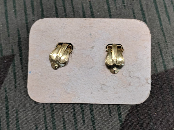 German White Clip-On Earrings on Card