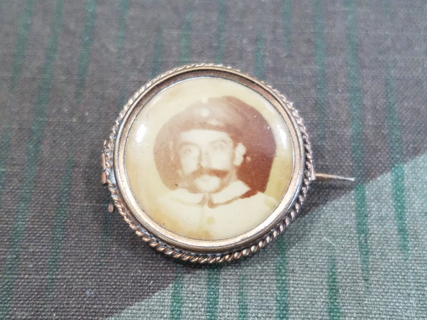 WWI German Sweetheart Pin Brooch with Soldier's Photo