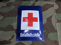 WWII-era DRK Medical Unfallhilfstelle Enamel Sign