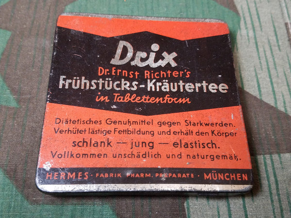 WWII-era German Drix Breakfast Herbal Tea in Tablet Form Tin