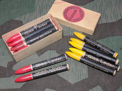 WWII-era German Glass and Leather Marking Crayons - Yellow and Red