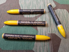 WWII-era German Glass and Leather Marking Crayons - Yellow