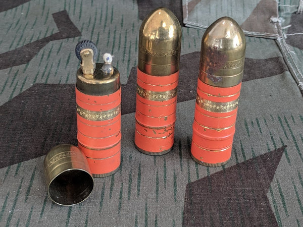 WWII-era German Orange Bullet Shaped Lighter Art Deco