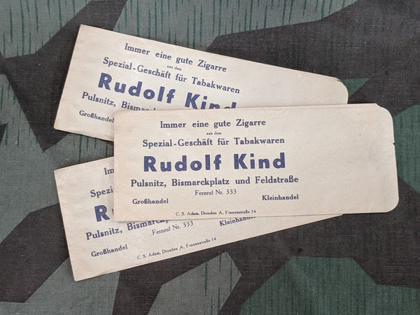 WWII-era German Rudolf Kind Cigar Paper Bag (Set of 3)