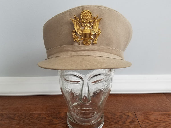WWII ANC Army Nurse Women's Uniform Beige Service Hat (Size 22 1/2)