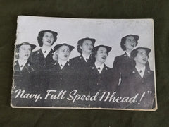 "WWII US WAVES Women's Song Book ""Navy, Full Speed Ahead!"""