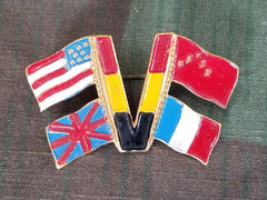 "WWII Belgian ""V for Victory"" Allies Flag Pin Brooch Vintage Sweetheart"