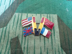 "WWII Belgian ""V for Victory"" Flag Pin Vintage"