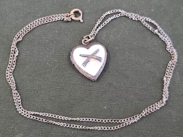 WWII Crossed Rifle Army Infantry Sweetheart Locket Necklace
