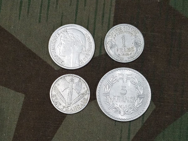 WWII French Francs Coins (Set of 4) 1944/1945