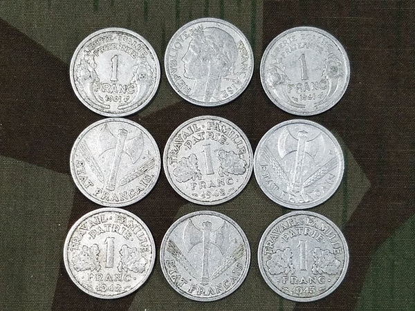 WWII French Francs Coins (Set of 9) 1941/1942/1943