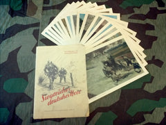 WWII German 16 Original Combat Art Prints w/ Cover