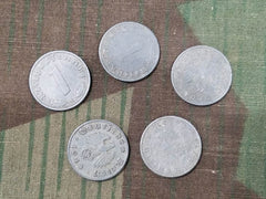 WWII German 1 Reichspfennig Coins (Set of 5)