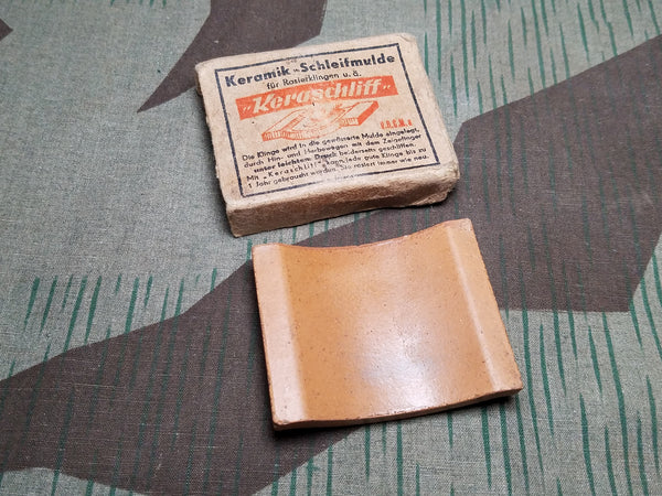 WWII German Ceramic DRGM Razor Sharpener in Original Box